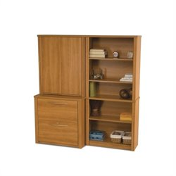 Bestar Embassy Library Bookcase Set in Cappuccino Cherry