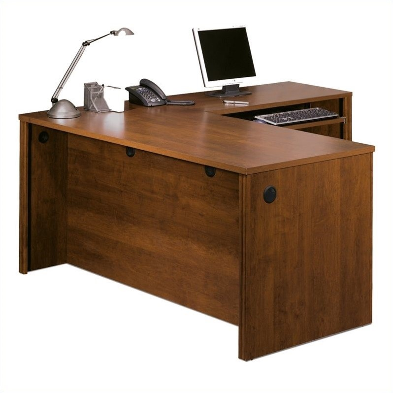 Bestar Embassy L-shape Wood Home Office Computer Desk in Tuscany Brown