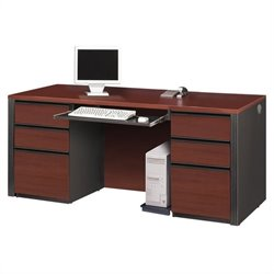 Bestar Prestige + Double Pedestal Wood Computer Desk in Bordeaux