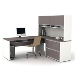 Bestar Connexion L-Shaped Office Set with 1 Oversized Pedestal in Sandstone & Slate