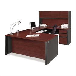 Bestar Prestige + U-Desk and Hutch Office Set in Bordeaux