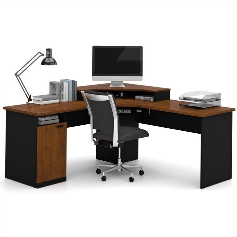 bestar hampton wood home office corner computer desk in tuscany brown 69430 4163. Black Bedroom Furniture Sets. Home Design Ideas