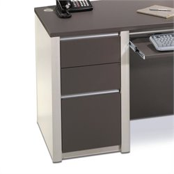 Bestar Connexion Office 1 Drawer Wood Lateral File Storage Pedestal in Slate & Sandstone