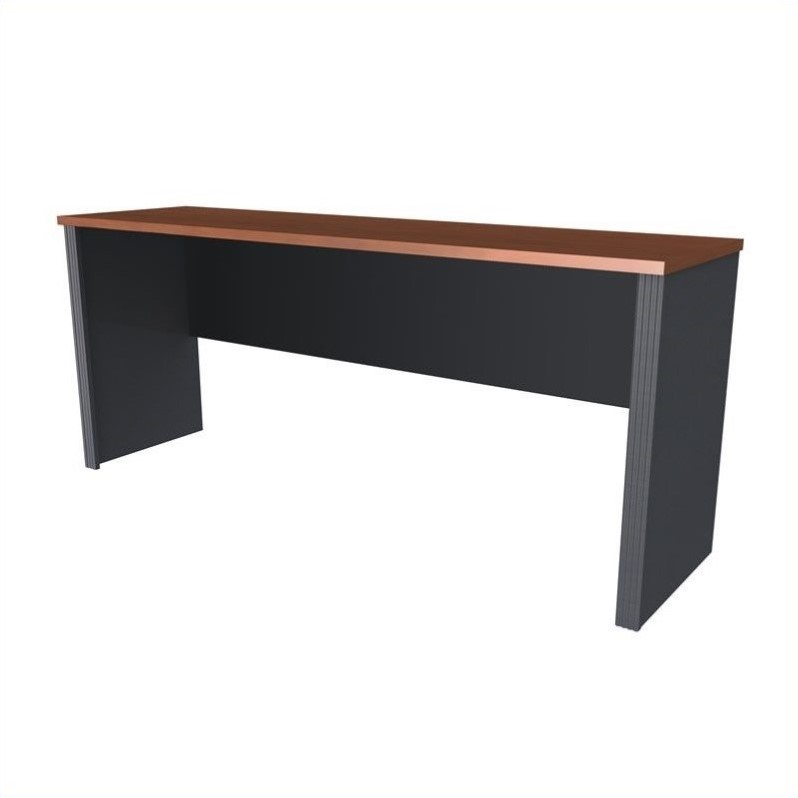Bestar Prestige + Credenza Shell in Bordeaux & Graphite
