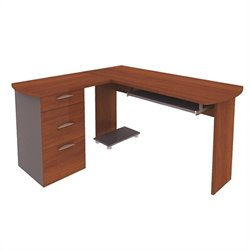 Bestar Capri L-Desk with Pedestal in Cognac Cherry and Slate