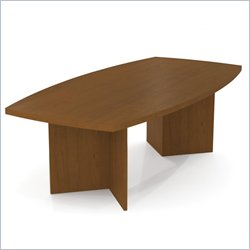 Bestar Meeting Solutions 8' Boat Shaped Light Board Top Conference Table in Cherry Cognac