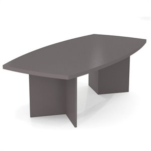 Bestar Meeting Solutions 8' Boat Shaped Light Board Top Conference Table in Slate