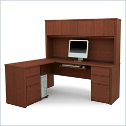 Bestar Prestige + L-Shape Wood Computer Desk in Cognac Cherry