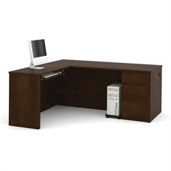 Bestar Prestige + L-Shape Wood Computer Desk in Chocolate