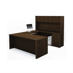 Bestar Prestige + U-Shape Desk Office Set with Hutch in Chocolate