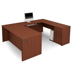 Bestar Prestige + U-Shape Wood Computer Desk with Pedestal - Bordeaux & Graphite