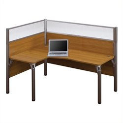 Bestar Pro-Biz Single Left L-shaped Workstation with Acrylic Glass