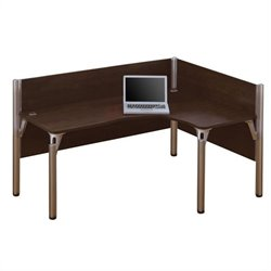 Bestar Pro-Biz Single Right L-shaped Workstation in Chocolate