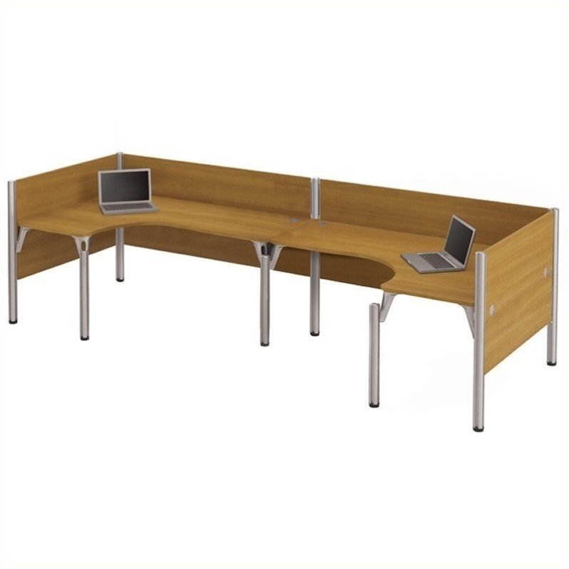Pro-Biz Double Back to Back L-Desk in Cappuccino Cherry