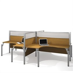 Bestar Pro-Biz Quad L-Desk in Cappuccino Cherry