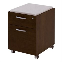 Bestar Pro-Biz Assembled Mobile Wood Pedestal in Chocolate Finish