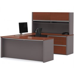Bestar Connexion U-Shape Home Office Set with 1 Oversized Pedestal with Hutch