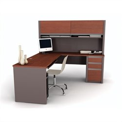 Bestar Connexion L-Shape Computer Desk w/ Hutch in Bordeaux and Slate