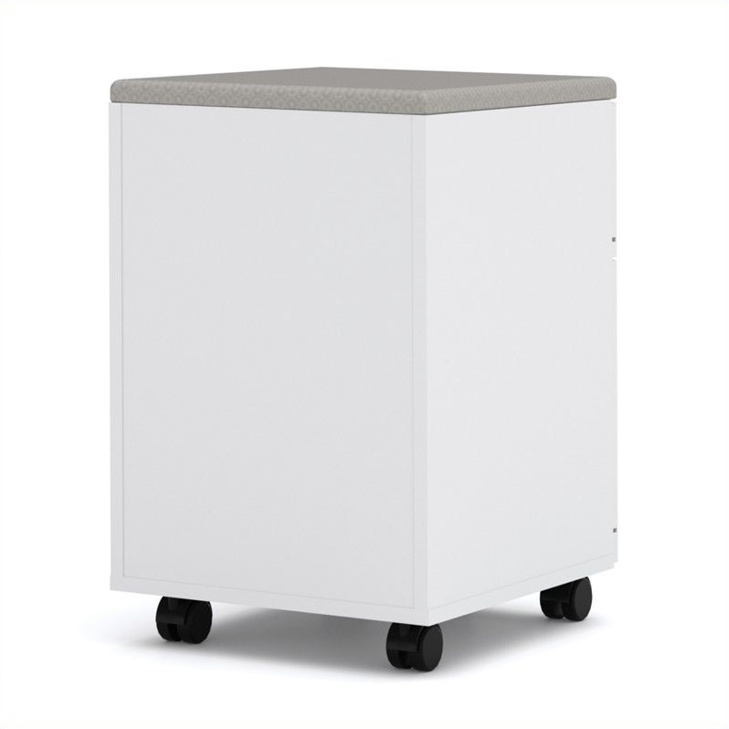 Bestar Pro-Linea Assembled Mobile Pedestal in White