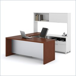 Bestar Pro-Linea U-shaped with Hutch Kit in White and Cognac