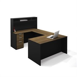 Bestar Pro-Concept U-Shaped Workstation with Small Hutch and Pedestal