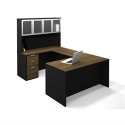 Bestar Pro-Concept U-Shaped Workstation with High Hutch and Pedestal