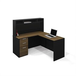 Bestar Pro-Concept L-Shaped Workstation with Small Hutch and 1 Assembled Pedestal