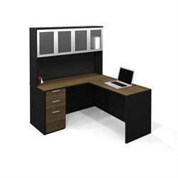 Bestar Pro-Concept L-Shaped Workstation with 1 Assembled Pedestal and High Hutch