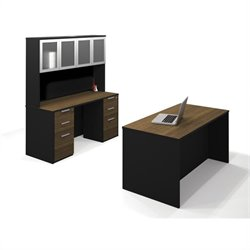 Bestar Pro-Concept Executive Kit with Two Assembled Pedestals in Milk Chocolate Bamboo and Black