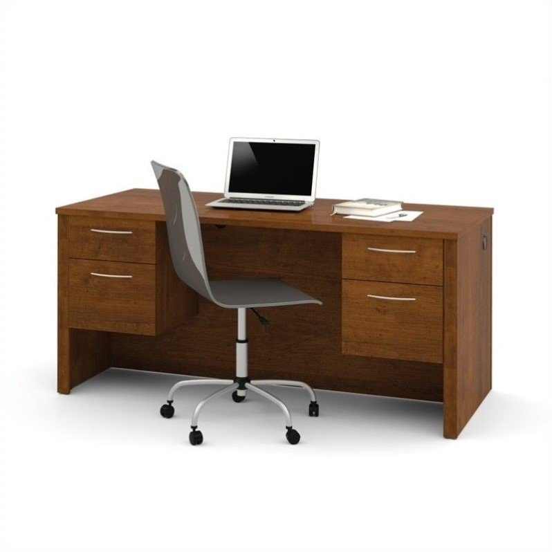 Bestar Embassy Executive Desk with Two Pedestals in Tuscany Brown