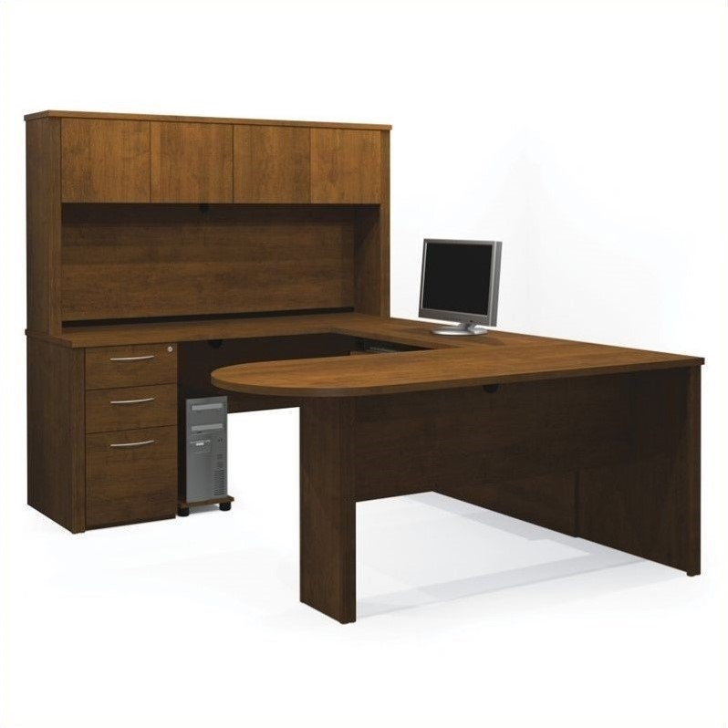 Embassy U-shaped Workstation with 1 Assembled Pedestal in Tuscany Brown