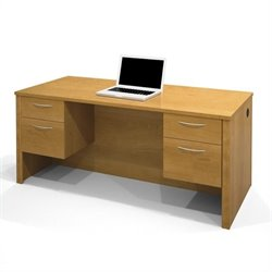 Bestar Embassy Executive Desk with Two Pedestals in Cappuccino Cherry