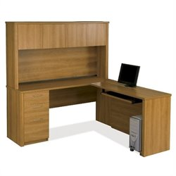 Bestar Embassy L-shaped Workstation with 1 Pedestal  in Cappuccino Cherry