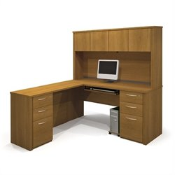 Bestar Embassy L-shaped Workstation with 2 Assembled Pedestals in Cappuccino Cherry