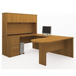 Bestar Embassy U-shaped Workstation with 1 Assembled Pedestal in Cappuccino Cherry
