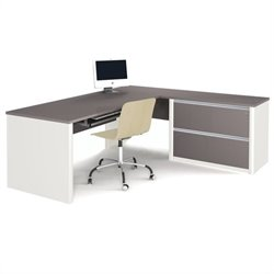 Bestar Connexion L-Shaped Workstation with 1 Assembled Oversized Pedestal