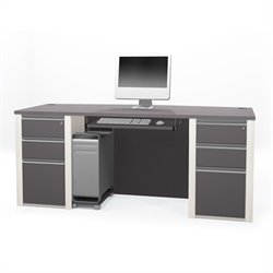 Bestar Connexion Executive Desk Kit with 2 Assembled Pedestals