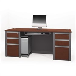 Bestar Connexion Executive Desk Kit with 2 Assembled Pedestals in Bordeaux