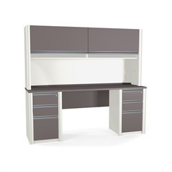 Bestar Connexion Credenza and Hutch with 2 Assembled