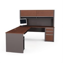 Bestar Connexion L-Shaped Workstation with 1 Assembled Pedestal in Bordeaux