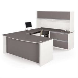 Bestar Connexion U-Shaped Workstation with Assembled Oversized Pedestal in Sandstone