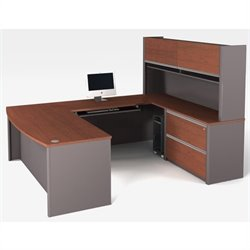 Bestar Connexion U-Shaped Workstation with Assembled Oversized Pedestal in Bordeaux