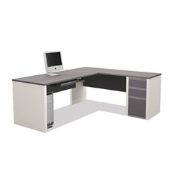 Bestar Connexion L-Shaped Workstation with 1 Pedestal in Sandstone