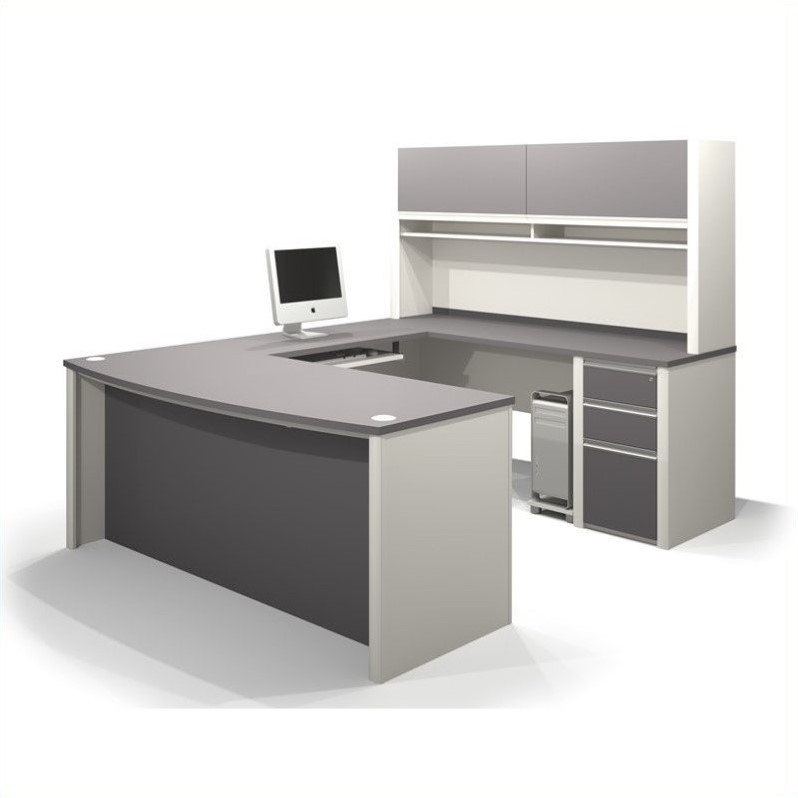 Bestar Connexion U-Shaped Workstation with 1 Assembled Pedestal in Sandstone