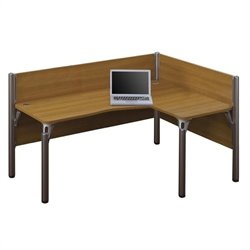 Bestar Pro-Biz Single Right L-shaped Workstation in Cappuccino Cherry