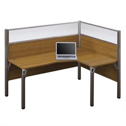 Bestar Pro-Biz Single Right L-shaped Workstation with Acrylic Glass