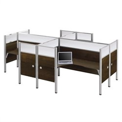 Bestar Pro-Biz Quad L-Desk in Chocolate