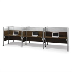 Bestar Pro-Biz Six Workstations in Chocolate