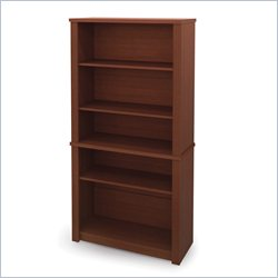 Bestar Prestige Wood Bookcase in Cognac Cherry
