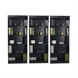 Bestar 5 Shelf Standard Wall Bookcase in Charcoal